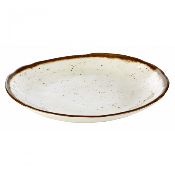 Teller - Melamin - weiß, braun - rund - Serie Stone Art - APS 84515