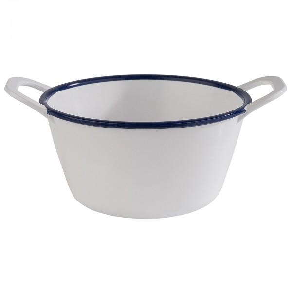 Schale - Melamin - weiß / blau - rund - Serie Enamel Look - 84958