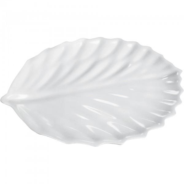 Servierplatte - Melamin - weiß oder apfelgrün - blattform - 9736420