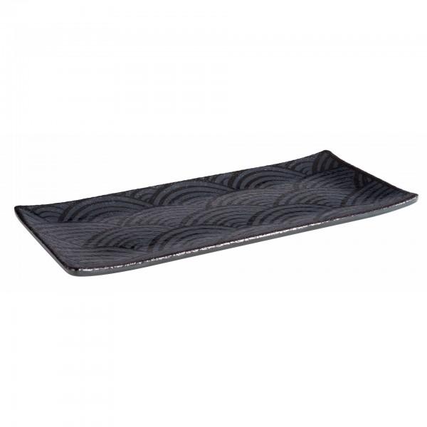Tablett - Melamin - schwarz - rechteckig - Serie Dark Wave - 84905