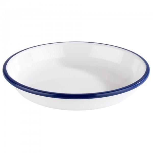 Suppenteller - Melamin - weiß / blau - rund - Serie Enamel Look - 84952